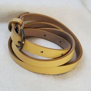 Ann Taylor Yellow Skinny Belt sz M #1299